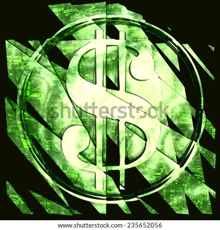 Cracked dollar money crisis United States of America. Coin green color - stock photo