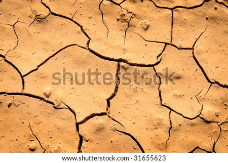 Cracked dry brown ground in drought - stock photo