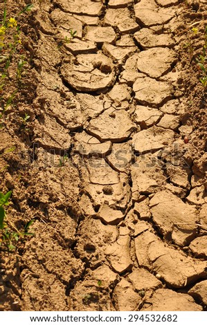 Cracked dry ground, drought land