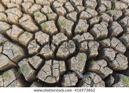Cracked dry land without water.Abstract background. - stock photo