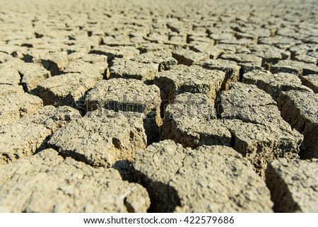 Cracked dry land without water,Thailand - stock photo