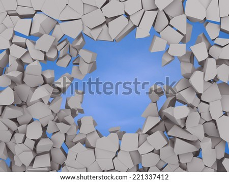 Cracked earth abstract background on blue sky 3d illustration - stock photo