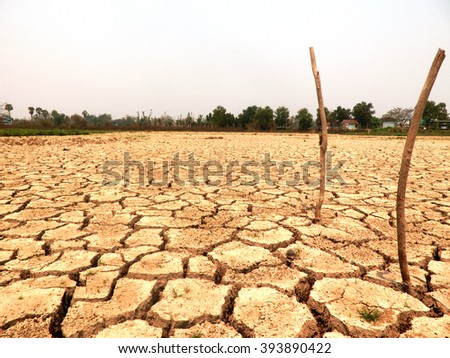 Cracked earth landscape, The concept cracked soil drought. - stock photo