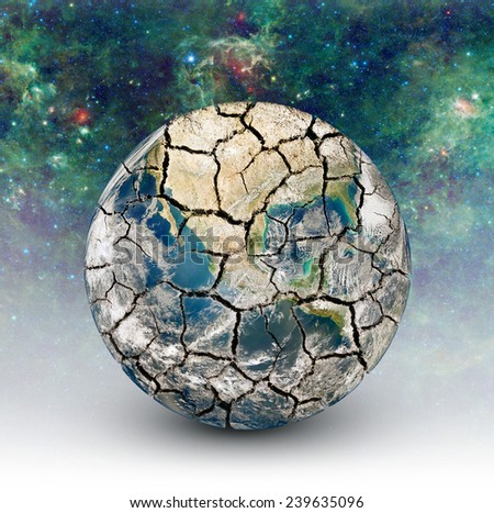 Cracked Earth on the background of the starry sky. Elements of this image furnished by NASA (http://www.nasa.gov/) - stock photo