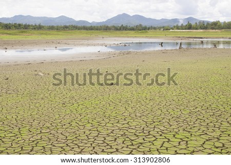 cracked earth,The drought of lakes - stock photo