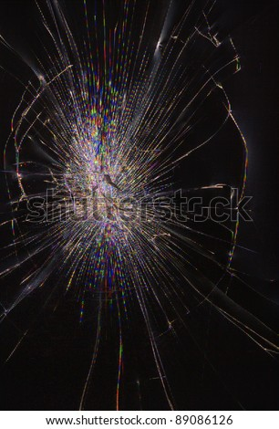 Cracked glass of lcd matrix display screen, vertical view