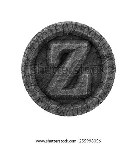 cracked letter - grunge font - design elements - stock photo