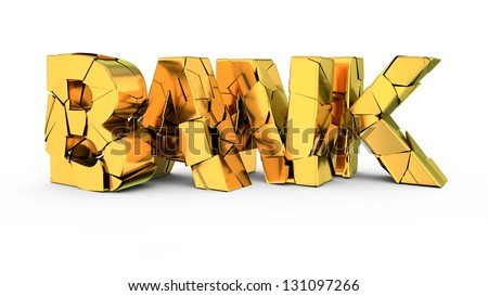 Cracked letters Bank - concept of banking collapse - stock photo