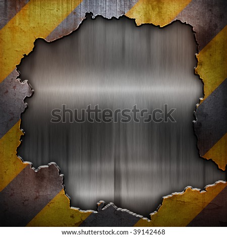 cracked metal wall - stock photo