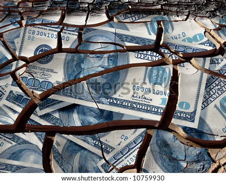 cracked one hundred dollar bills - stock photo