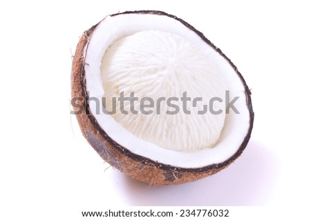 Cracked open sprouted coconut with spongy grooved white meat on white background - stock photo