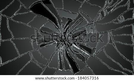 Realistic Shards Transparent Broken Glass On Stock Vector