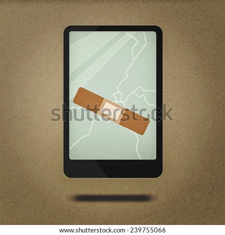 cracked screen smartphone in retro style - stock photo