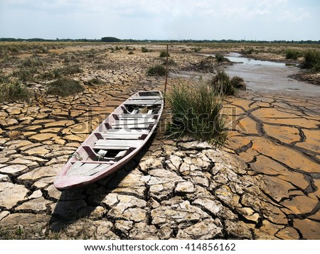 cracked soil from drought - stock photo