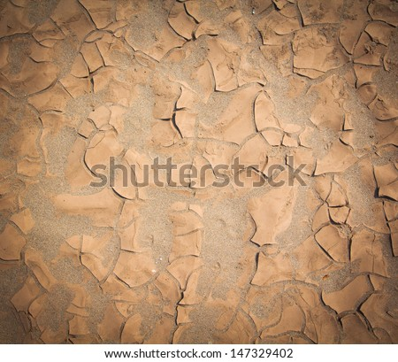 Cracked soil ground background textured - stock photo