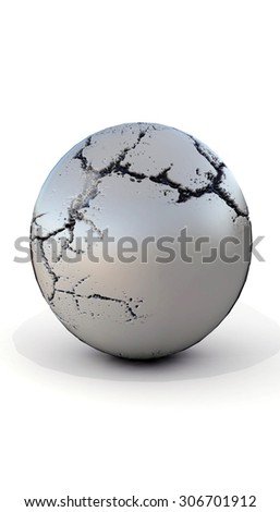 cracked stone sphere render on white background