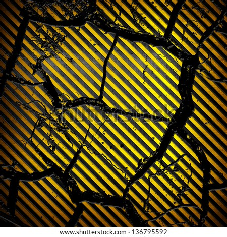 cracked striped metal background - stock photo