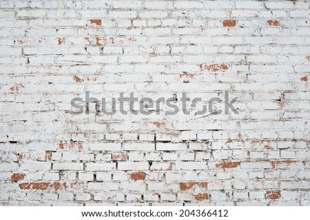 Cracked white grunge brick wall textured background stained old stucco aged paint grungy rusty blocks - stock photo