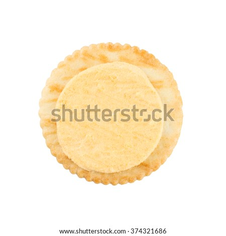 Cracker cream cheese isolated on white background. - stock photo