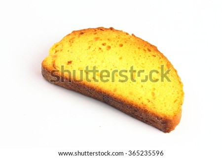 cracker from white bread close-up on an isolated white background - stock photo