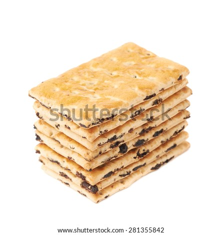 Cracker raisin cookies stack composition isolated over the white background - stock photo