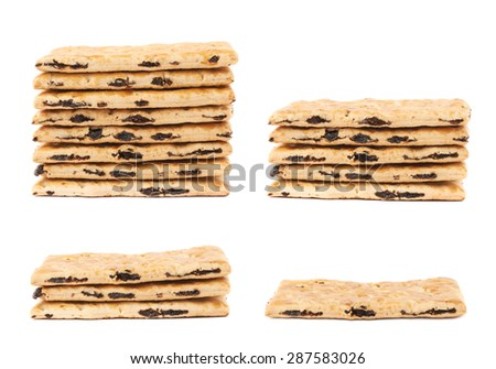 Cracker raisin cookies stack composition isolated over the white background, set of four images - stock photo