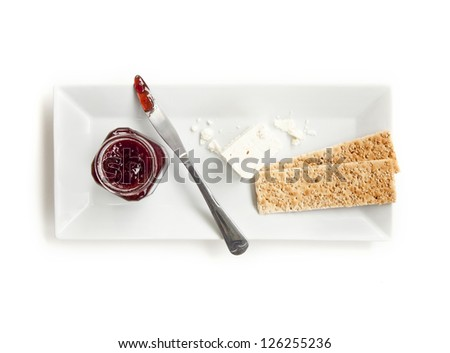 Crackers, Cheese and Jam - stock photo