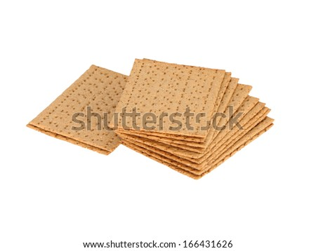 crackers (crispbread) on the white isolate background