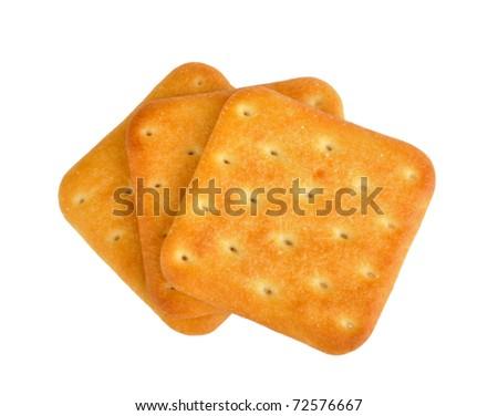 crackers on white - stock photo