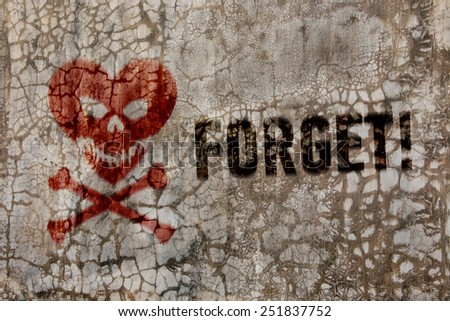 Crackled wall texture, heart in the form of a skull and crossbon - stock photo