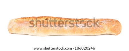 Crackling white bread with seeds. Isolated on a white background - stock photo