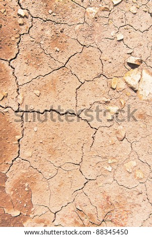Cracks on dry surface of the ground - stock photo