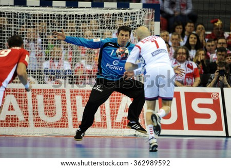 CRACOV, POLAND - JANUARY 15, 2016: Men's EHF European Handball Federation EURO 2016 Krakow Tauron Arena Poland Serbia