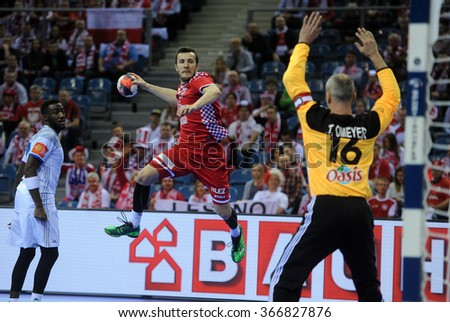 CRACOV, POLAND - JANUARY 23, 2016: Men's EHF European Handball Federation EURO 2016 Krakow Tauron Arena France - Croatia o/p: Manuel Strlek Thierry Omeyer