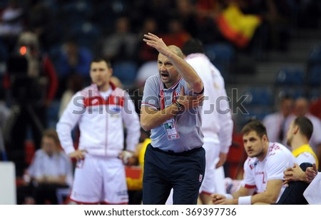 CRACOV, POLAND - JANUARY 29, 2016: Men's EHF European Handball Federation EURO 2016 Krakow Tauron Arena Spain Croatia