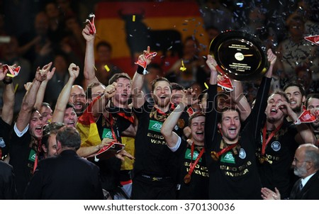 CRACOV, POLAND - JANUARY 31, 2016: Men's EHF European Handball Federation EURO 2016 Krakow Tauron Arena Germany Spain