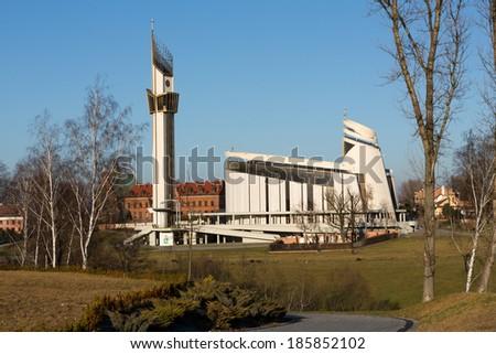 Cracow , Lagiewniki - The Divine Mercy Sanctuary, Roman Catholic basilica dedicated to Divine Mercy devotion, as the resting place of Saint Faustina Kowalska - stock photo