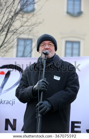 CRACOW, POLAND - JANUARY 23, 2016:  the Demonstration against the surveillance on Internet organized through The Committee for the Defence of Democracy / KOD /. Cracow, Poland