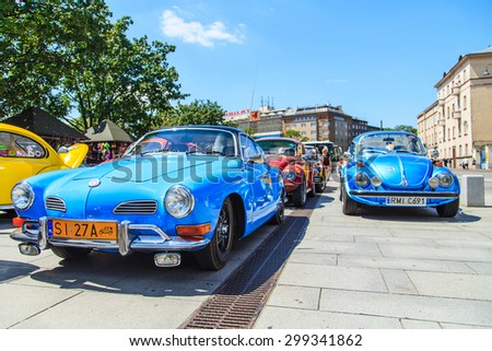 CRACOW, POLAND - July 11, 2015: Closup of vintage Volkswagen Karmann Cabrio in Cracow, Poland - stock photo