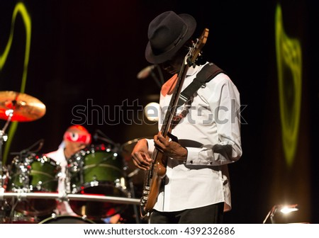 CRACOW, POLAND - MARCH 16, 2016:   Billy Cobham Band live on stage in ICE Cracow, Poland - stock photo