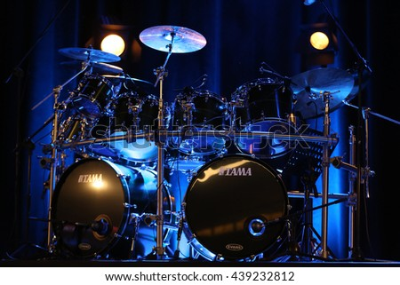 CRACOW, POLAND - MARCH 16, 2016: Drums of   Billy Cobham live on stage in ICE Cracow, Poland - stock photo