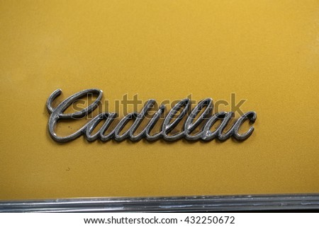 CRACOW, POLAND - MAY 21, 2016: Cadillac metallic logo closeup on Cadillac  car displayed at 3rd edition of MOTO SHOW in Cracow Poland.