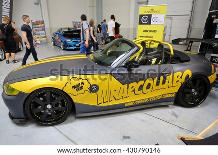 CRACOW, POLAND - MAY 21, 2016: Engine tuning BMW Cabrio displayed at 3rd edition of MOTO SHOW in Krakow. Poland. Exhibitors present  most interesting aspects of the automotive industry