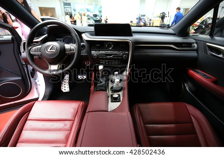 CRACOW, POLAND - MAY 21, 2016: Interior Design of Lexus NX 300h displayed at 3rd edition of MOTO SHOW in Cracow Poland. Exhibitors present  most interesting aspects of the automotive industry