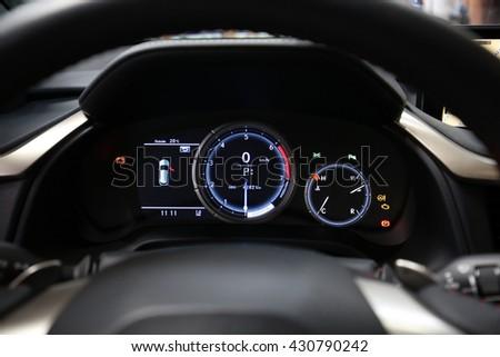 CRACOW, POLAND - MAY 21, 2016: Interior Design of Lexus NX 300h displayed at 3rd edition of MOTO SHOW in Cracow Poland. Exhibitors present  most interesting aspects of the automotive industry - stock photo
