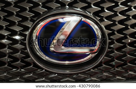 CRACOW, POLAND - MAY 21, 2016:  Lexus metac logo closeup on Lexus  car displayed at 3rd edition of MOTO SHOW in Cracow Poland. Exhibitors present  most interesting aspects of the automotive industry - stock photo