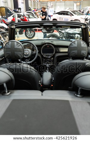 CRACOW, POLAND - MAY 21, 2016: Mini Cooper Cabrio displayed at 3rd edition of MOTO SHOW in Cracow Poland.Exhibitors present  most interesting aspects of the automotive industry