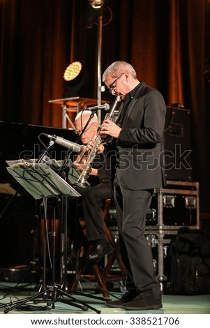 CRACOW, POLAND - NOVEMBER 3, 2015: Andy Shepard and Carla Bley Trios playing live music at The Cracow Jazz All Souls  Day Festival in Cracow. Poland