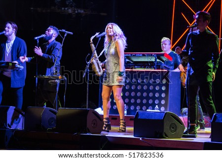 CRACOW, POLAND - NOVEMBER 2, 2016: Candy Dulfer live on stage in ICE Cracow, Poland