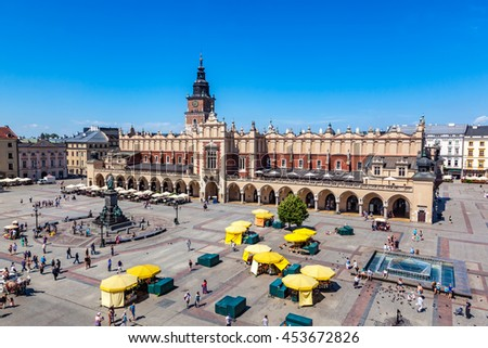 Cracow, Poland. View on the the old town market square and Cloth Hall from the top of the St. Mary's Basilica Tower.